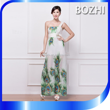 Long White Chiffon One Shoulder Eveing Dress Print Peacock for Fat Women