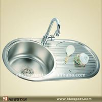 Round top mount stainless steel sink