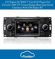 "A8 Chipset 3G WIFI 5"" Car DVD Player For Chrysler 300C PT Cruiser Dodge Ram Jeep Grand Cherokee With GPS Radio BT"