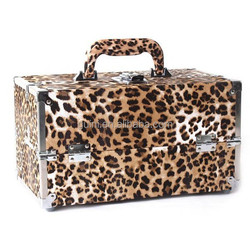 Fashional Leopard PU Leather Makeup case Professional Practical Storage Cosmetic Case size 31*19*17 cm