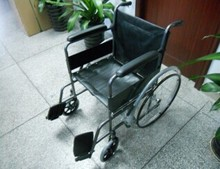 cobrawheelchair Steel Wheelchair Fixed Full Arms Elevating Footrest Black color