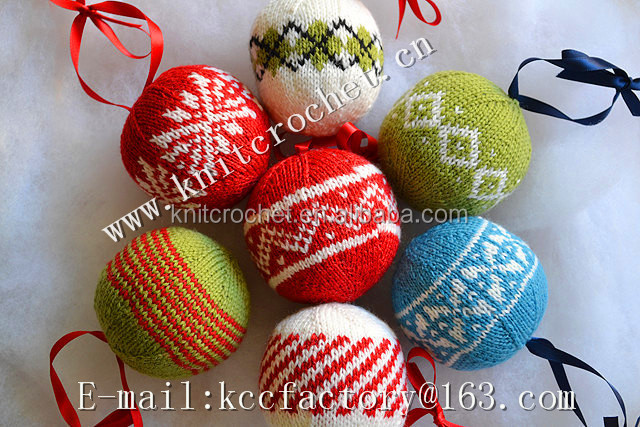Knit Christmas tree decoration, Christmas ball hanging ornament, Knit ...