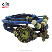 QU0226 Fashion alloy case Leather watch with butterfly Charm