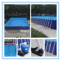 Rectangular Frame inflatable plastic hot swim pool for family