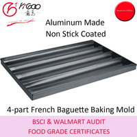 60x40cm Aluminum 4-part French Baguette Bread Baking Tray with Non Stick Coating