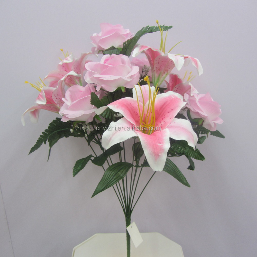 Real touch artificial flower lily rosenew single lily rose bouquet img6399g izmirmasajfo
