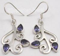 925 Silver IOLITE STONES DESIGNER Dangle Earrings 4.1CM