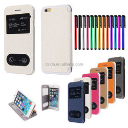 """Smart Window View PU Leather Stand Flip Hard Cover Case for 4.7"""" iPhone 6"""