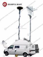 2015 hot sale 10-15m high vehicle mounted mobile telescopic surveillance camera aluminum mast tower and high monitor