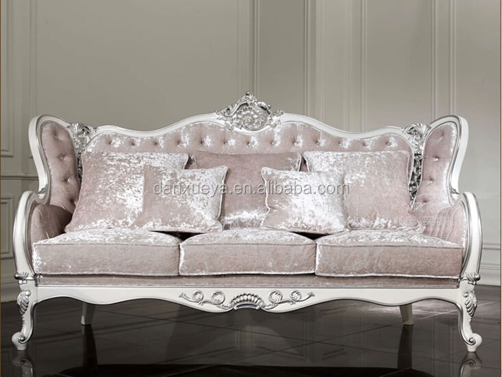 White Silver Wooden Carved Pink Velvet Sofa Set
