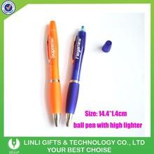 2 In 1 Plastic Promotional Highlighter Ballpen