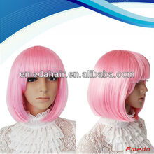 Fashion synthetic hair bob stytle short pink cosplay wig for sale hot selling