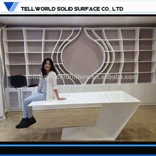 Outstanding modern executive office furniture white lacquer high glossy computer desk