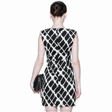 High quality soft white and black fitted silky dress