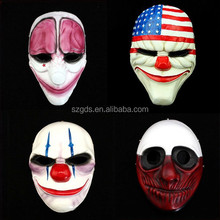 Luxurious quality Payday2 Movie Mask,Set of 4 Clown, Dallas, Chains, HOXTON, Wolf Resin Mask Payday2
