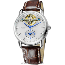 2015 Top stainless steel case genuine leather strap 2 time blue needle mechanical watches men