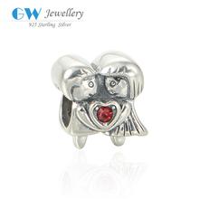 Love Boy And Girl Design Inlaying Garnet Zircon Stone 925 Sterling Silver DIY Necklace Beads