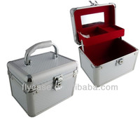 fashion grey plaid aluminum makeup case for cosmetic with safe lock and mirror