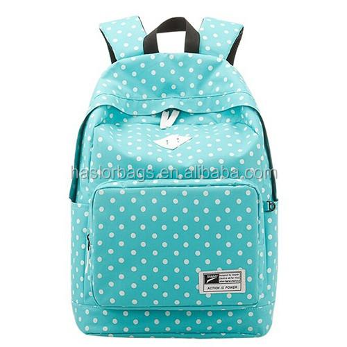 Sac d'école pour les adolescentes 2016 Fashio filles Femininas femme toile Polka Dot sacs à dos Double épaule