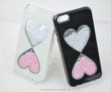 New Bling Floating Crystal Hourglass Heart Hard Plastic Phone Case For Mobilephone IP4 5S Cell Phone Case
