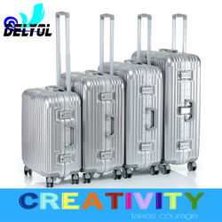 Best price material aluminum frame suitcase cabin trolley luggage for travel and bussiness