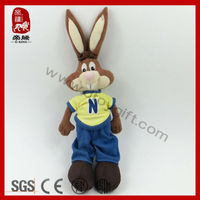 Customized plush toys rabbit in t-shirt