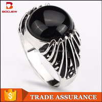 Men's Fashion Jewelry Gothic Ring Black Fake Diamond Sample Engagement Rings