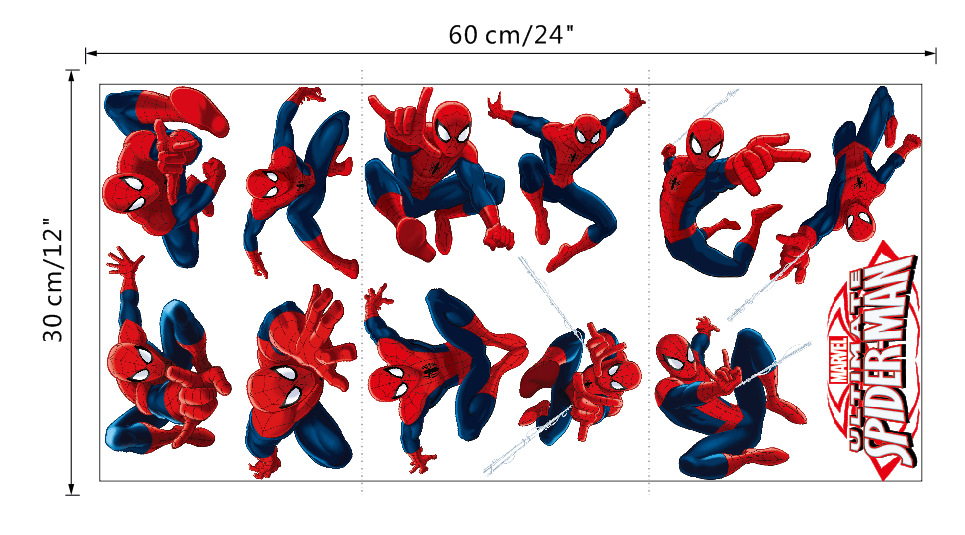 Spiderman Cartoon Eco Friendly Vinyl Stickers For Children