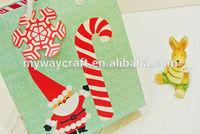 ho christmas printed cute santa cluas paper gift bags with snow shaped tag