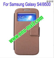 Window Ultrathin Magnetic Folio stand bible leather case for samsung galaxy s4