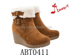 factory woman warm wedge snow boots zipper winter boots with buckle
