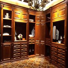 solid wood L shape design wardrobe for bedroom