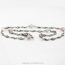 Luxury Rhinestone Beads Jewelry Stainless Steel Heart Silver Necklace Pink Crystal Beaded Animal Shape Chain