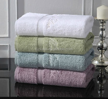 34*76cm satin border bamboo towel with embrodiered