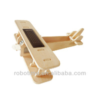 DIY 3D Wooden Solar Power Model Aircafts toy-Biplane