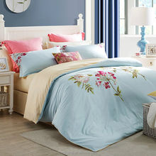 Light-blue small flower printed bedding wholesale best polyester fabric bedding