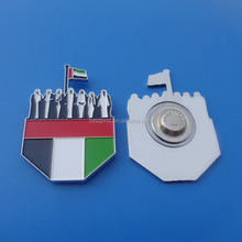 silver UAE square flag badge pins for 44 years national day, 7 sheikh flag badge medal made in china
