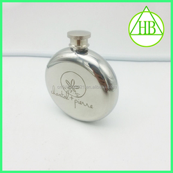 High grade quality shinning polish colors stainless steel round 8oz hip flask by silk print logo or laser