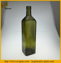 100CL Square dark green glass olive oil bottle
