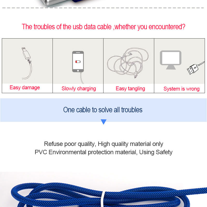Nylon woven cable universal 8 pin usb synchronous data charging line