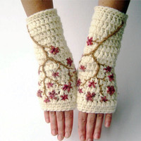 W-269 cherry blossom style fingerless wool gloves for women wrist warmers