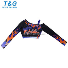 Spandex sublimated long sleeve crop top