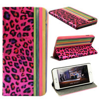 Wallet flip leather leopard print cell phone case for iphone 6 plus