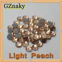 Top Quality ss10 LIGHT PEACH flatback hot fix rhinestone iron on transfer Garment decoration CRYSTAL GLASS ROUND STONE BEADS