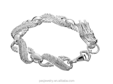 925 Sterling Silver Rhodium Plated Dragon Bangle Charm Bracelet