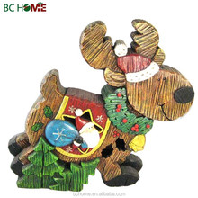 Polyresin wooden santa claus with sleigh, Christmas trees, snowmen, and reindeers
