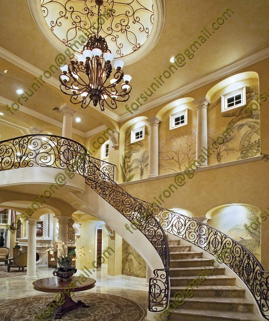 2014 new luxury wrought iron stair handrail for villa for Luxury staircase
