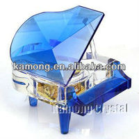 Piano shaped Blue Crystal Music Boxes For Event Gifts