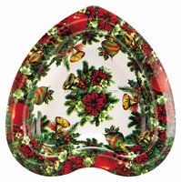 Christmas heart shaped plastic plates