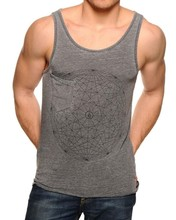 Print Tank Top Burn Out Pocket Tank Top Grey Men